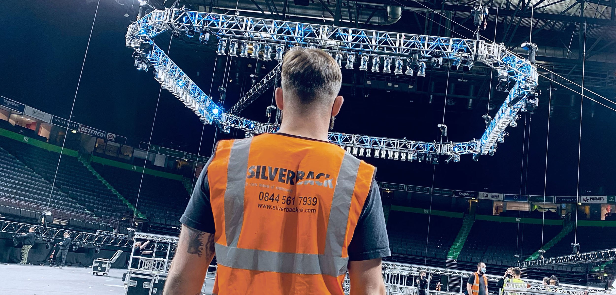 Silverback crew member at boxing event build